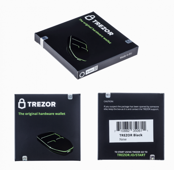Caja de la wallet Trezor Model One