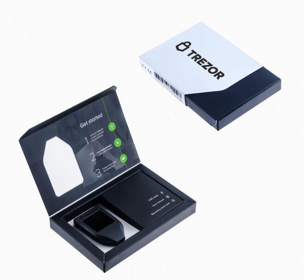 Caja presentación cartera física Trezor Model T